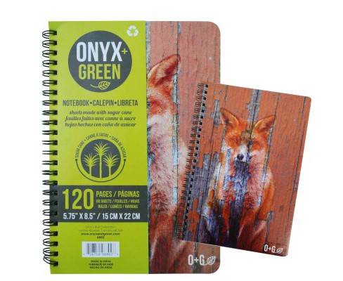 Onyx & Green Notebook Fox Print : 60 Ruled Sheets, Sugar Cane Paper (Paperback) - image 1 of 1