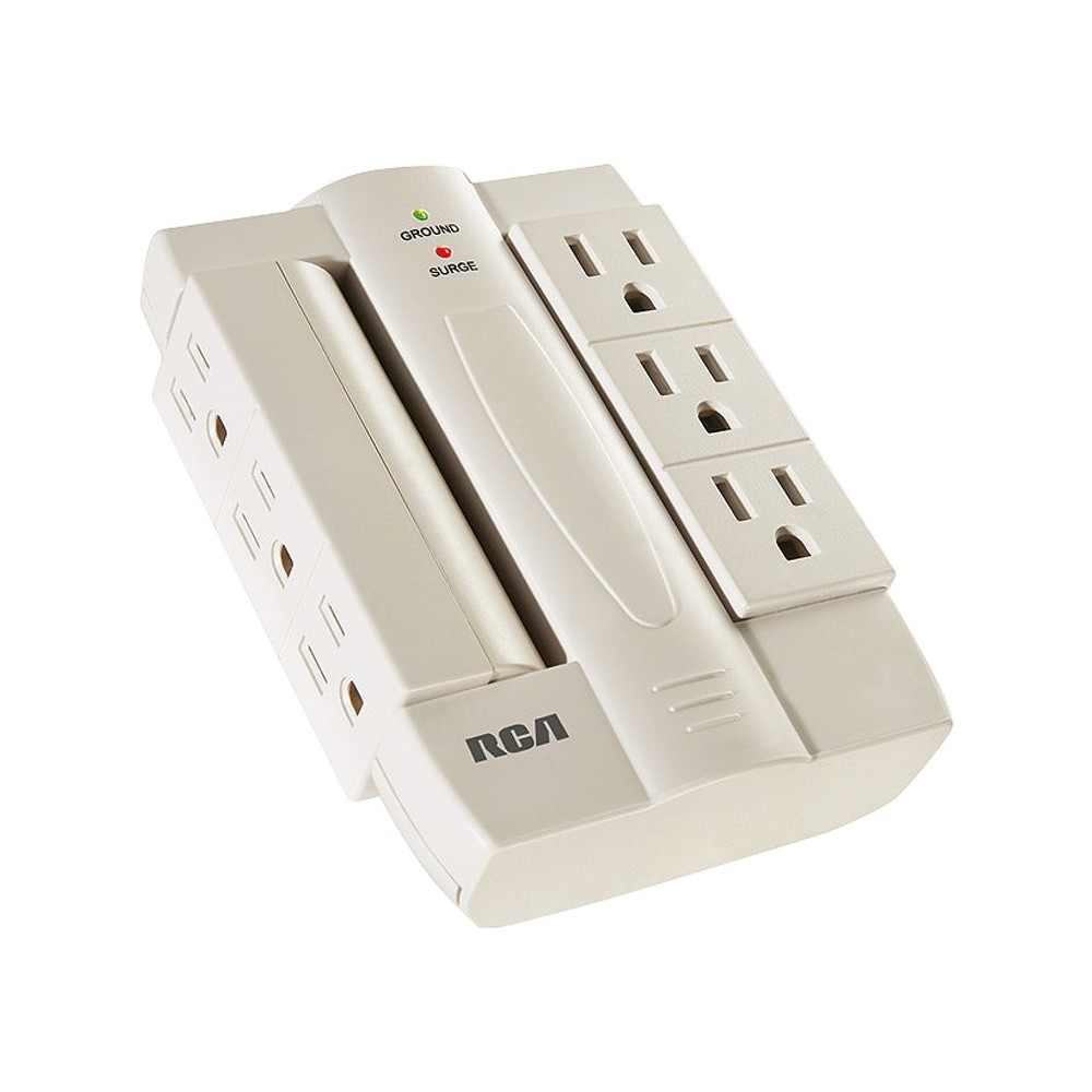 Rca Wall Tap Surge Protector with 6 Pivoting Outlets - White (PSWTS6F) 6 Swivel Outlets - Surge Protector Outlets Swivel Side-to-Side 90º 1200 Joules Surge Protection. Protects equipment from damaging power surges. Expands number of outlets Manages and organizes cordsSpace-saving design. Limited Lifetime Product Warranty. $300,000 Equipment Guarantee Color: White.