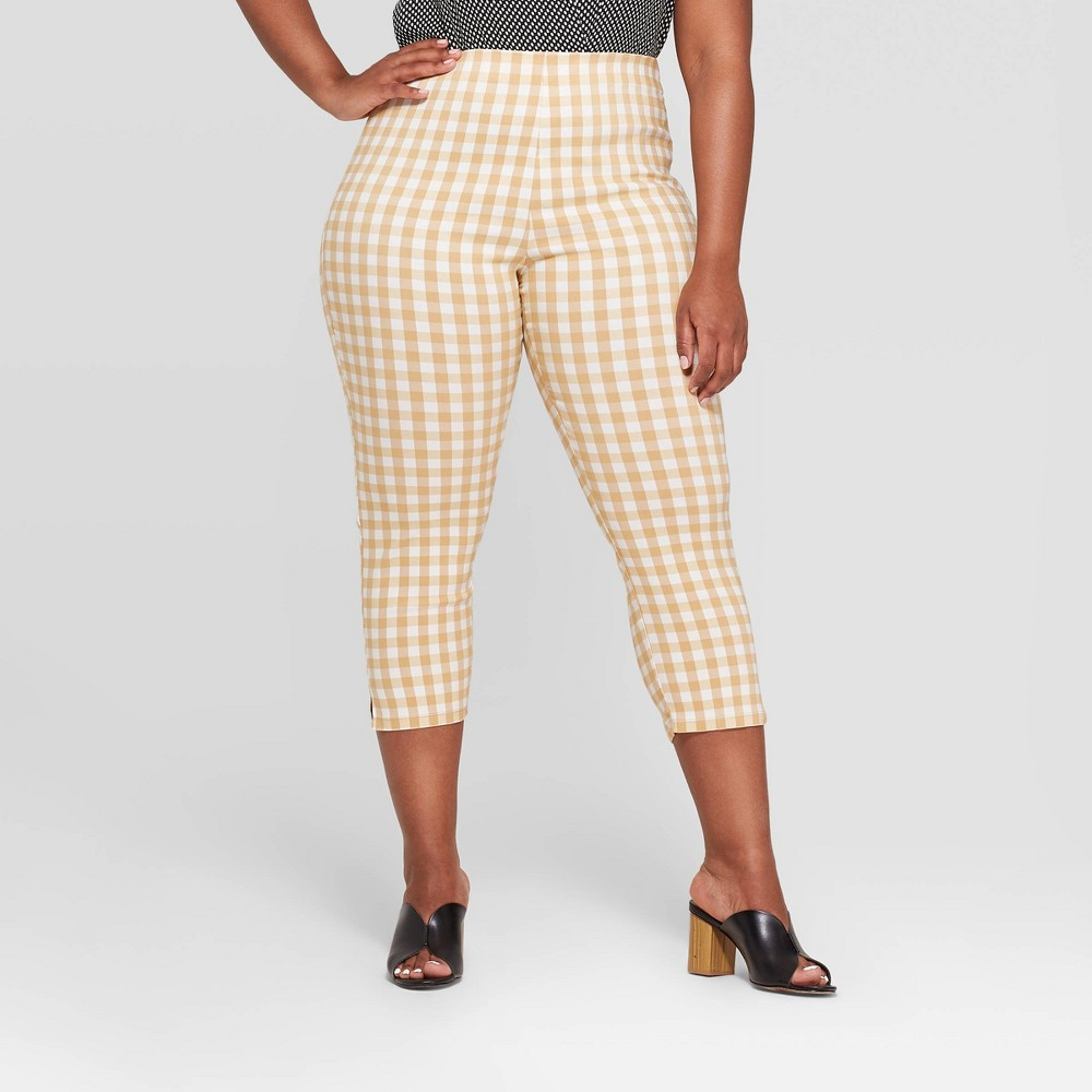 Women's Plus Size Gingham High-Rise Cropped Capri Pants - Who What Wear Taupe/White (Brown/White) 22W