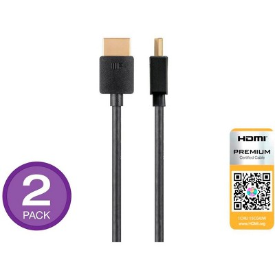 Monoprice High Speed HDMI Cable 2 Pack - 6 Feet - Black | Certified Premium, 4K@60Hz, HDR, 18Gbps, 34AWG, YUV 4:4:4 - Ultra Slim Series