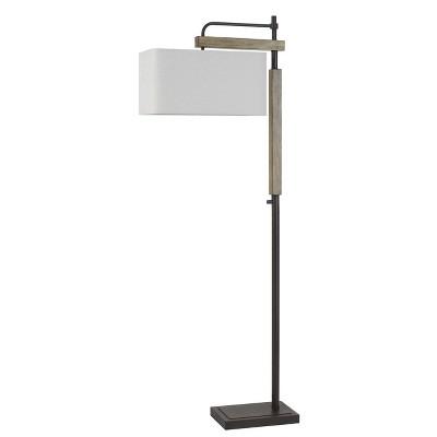 "64"" Metal/Wood Alloa Floor Lamp with Linen Shade Bronze - Cal Lighting"
