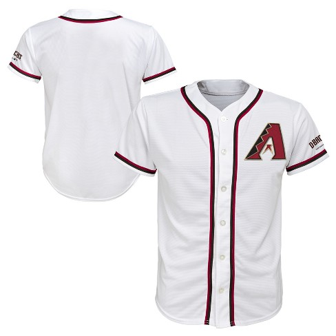 MLB Boys' Short Sleeve Button-Down Jersey - White - image 1 of 3