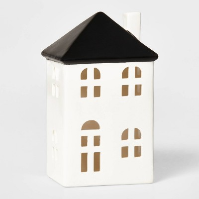 Tall Ceramic House Decorative Figurine White & Black - Wondershop™
