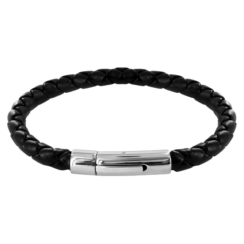 Men's Crucible Simulated Stainless Steel and Leather Braided Bracelet, Black