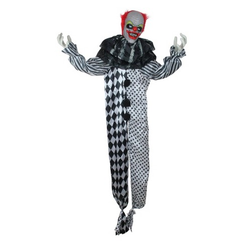 Northlight 5.5' Prelit Standing Animated Glowing Eyed Clown Halloween Decoration - Black/Silver - image 1 of 2
