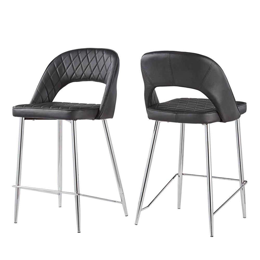 24 Set of 2 Alana Chrome Finish Counter Stool Quilted Faux Leather Black - Inspire Q