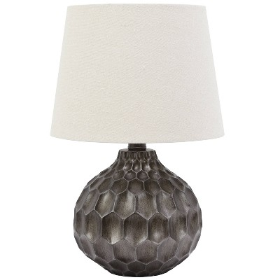 Bing Faceted Table Lamp with Linen Shade Gray (Lamp Only) - Decor Therapy