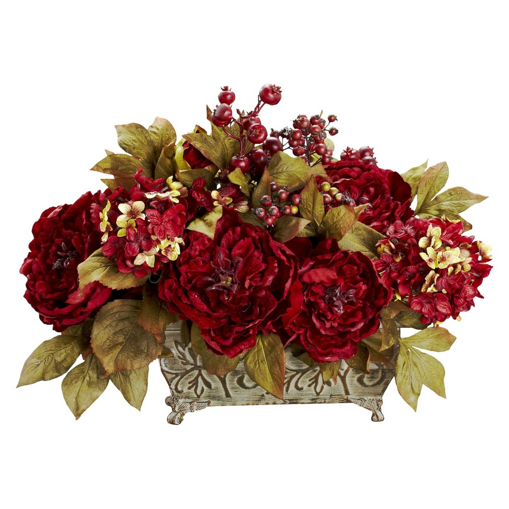 Nearly Natural Peony & Hydrangea Silk Flower Arrangement, Multclr Give your home a warm welcoming vibe with this Peony and Hydrangea Silk Flower Arrangement from Nearly Natural. The perfect blend of compact size and beautiful holiday color, this floral combination works well to create a festive appeal. Featuring big red blooms, smaller petals and gold-hued leaves that has this arrangement look great wherever you choose to place it. Size: 18IN. Color: Multclr.