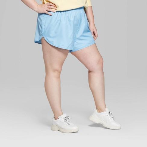 45e88e3567 Women s Plus Size Low-Rise Nylon Shorts - Wild Fable™ Blue   Target