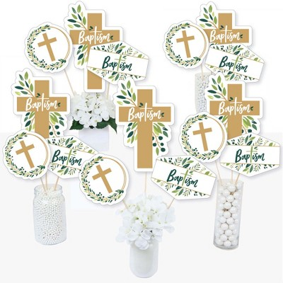 Big Dot of Happiness Baptism Elegant Cross - Religious Party Centerpiece Sticks - Table Toppers - Set of 15