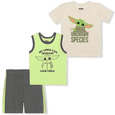 Star Wars The Mandalorian Boy's 3-Pack Unknown Species Baby Yoda Tee Shirt, Sleeveless Tank Top and Short Set for Kids