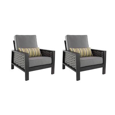 2ct Modern Wicker Chairs - Gray/Yellow - Olivia & May