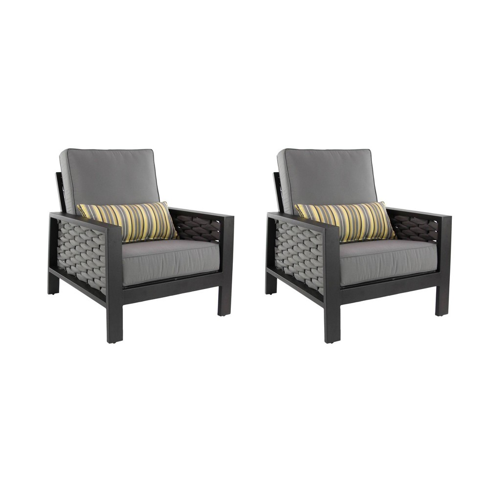 Image of 2ct Modern Wicker Chairs - Gray/Yellow - Olivia & May