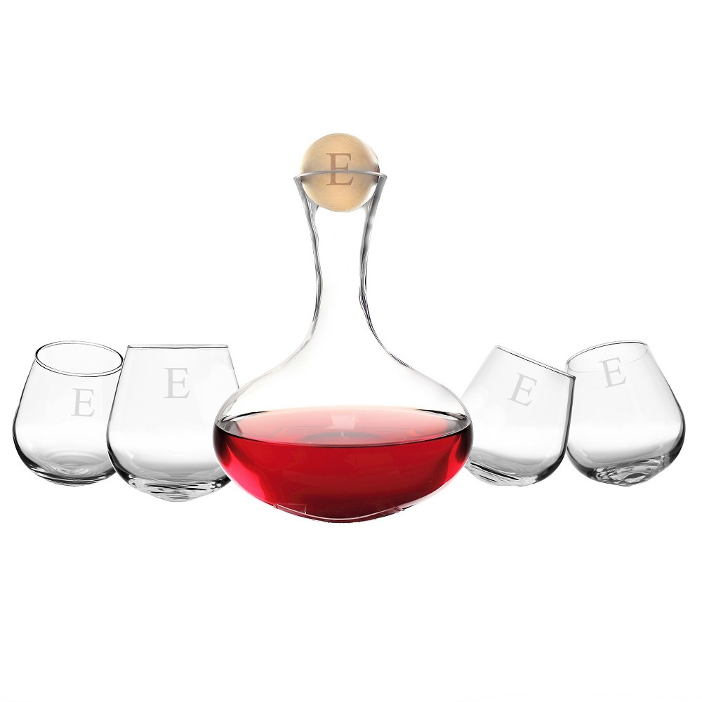 Cathy's Concepts 5pc Monogram Wine Decanter & Tipsy Tasters Set E, Clear