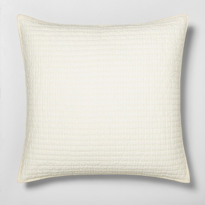 Euro Solid Quilted Pillow Sham Sour Cream - Hearth & Hand™ with Magnolia