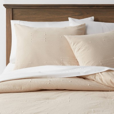Full/Queen Clipped Linework Comforter & Sham Set Khaki - Threshold™