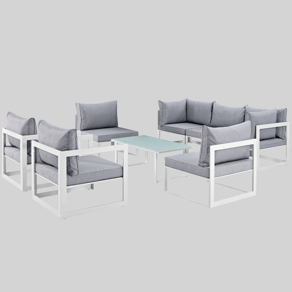 Fortuna 8pc Outdoor Patio Sectional Sofa Set Gray Modway