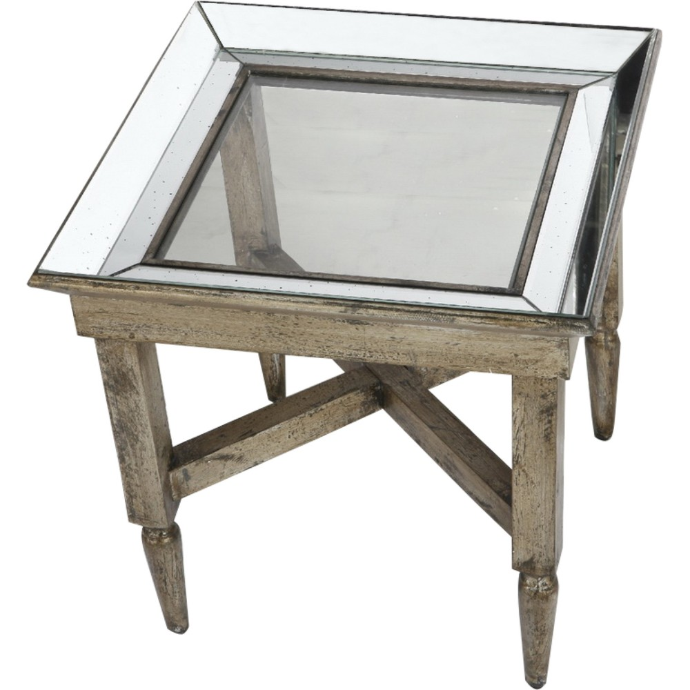 Jordan Mirrored Wood/Glass Side Table Silver - A&b Home
