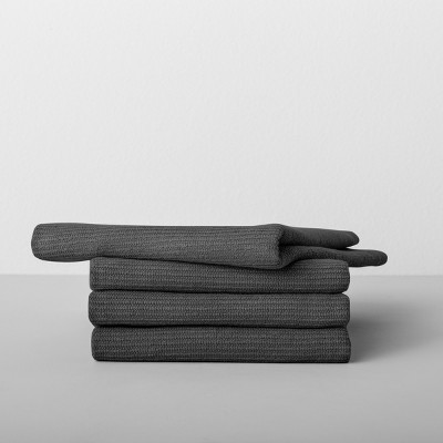 4pk Solid Barmop Towel Dark Gray - Made By Design™