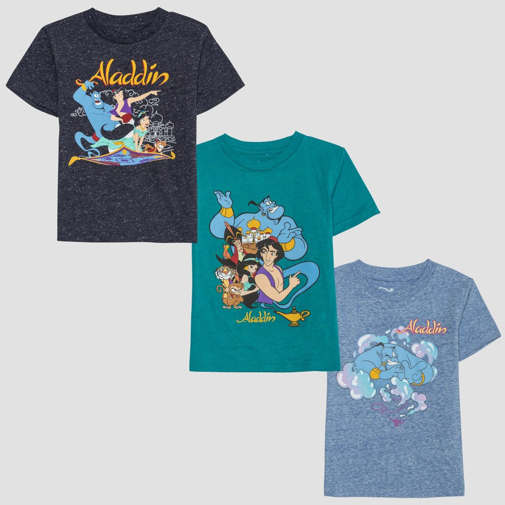 Toddler Boys' Aladdin 3pk Short Sleeve T-Shirts - Blue/Green 3T, Multicolored