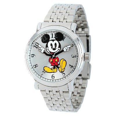 Men's Disney Mickey Mouse Shinny Vintage Articulating Watch with Alloy Case - Silver