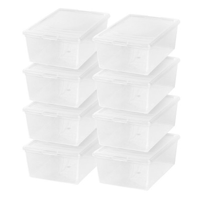 IRIS 8pk 13.5qt Modular Storage Box Clear