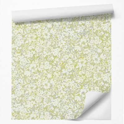 Americanflat Peel & Stick Wallpaper Roll -Green Blossom Flowers by DecoWorks