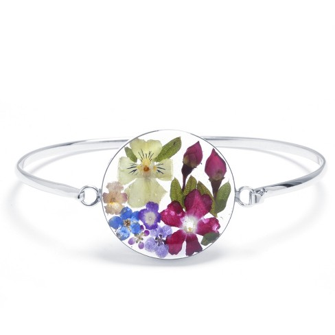"Women's Sterling Silver Pressed Flowers Round Bangle (7.5"") - image 1 of 1"