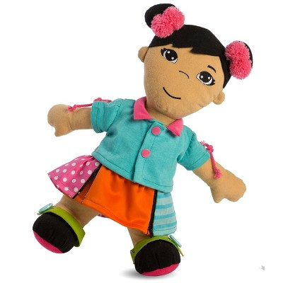 """Miniland Fastening Learn To Dress 15"""" Doll - Female with Two Pink Bows"""