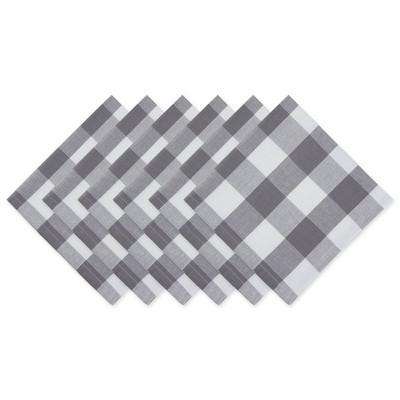 6pk Cotton Buffalo Check Napkins Gray - Design Imports