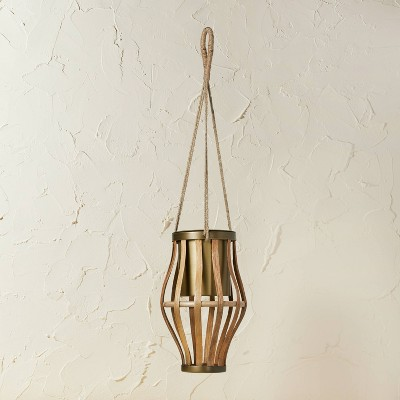 """11"""" x 6.5"""" Metal/Rattan Hanging Planter Natural - Opalhouse™ designed with Jungalow™"""