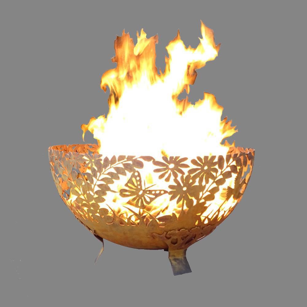 Large Laser Cut Garden Fire Bowl - Esschert Design, Red