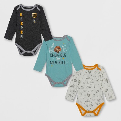 Baby Harry Potter 3pk Long Sleeve Bodysuits - Gray/White/Blue 6-9M