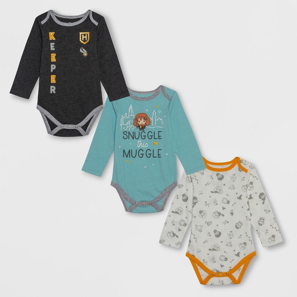 Baby Harry Potter 3pk Long Sleeve Bodysuits - Gray/White/Blue Newborn, Newborn Unisex