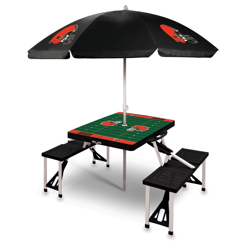 NFL Cleveland Browns Picnic Table Sport with Umbrella by Picnic Time - Black