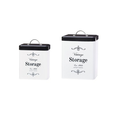 Amici Home Antique Shoppe Metal Storage Canisters, Assorted Set of 2 Sizes