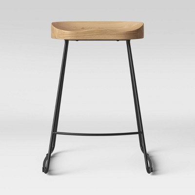 Hull Low Back Wood/Metal Counter Height Barstool - Threshold™