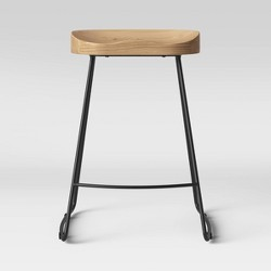 Hull Low Back Wood/Metal Counter Stool - Threshold™