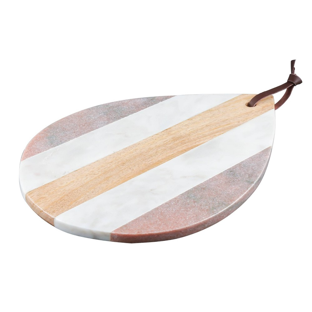 "Image of ""14"""" x 10"""" Marble and Mango Wood Tear Drop Serving Tray - Thirstystone"""