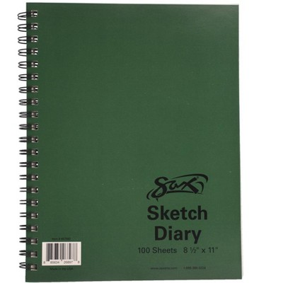 Sax Sulphite Spiral Binding Artists Sketch Diary, 50 lbs, 8-1/2 x 11 Inches, 100 Sheets, White