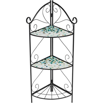 "Teal Island Designs Aqua Mosaic 47"" High Black Iron Three Shelf Plant Stand"