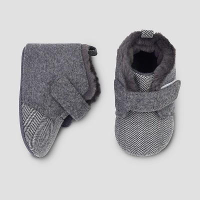 Baby Boys' Faux Wool Booties - Cat & Jack™ Gray 3-6M