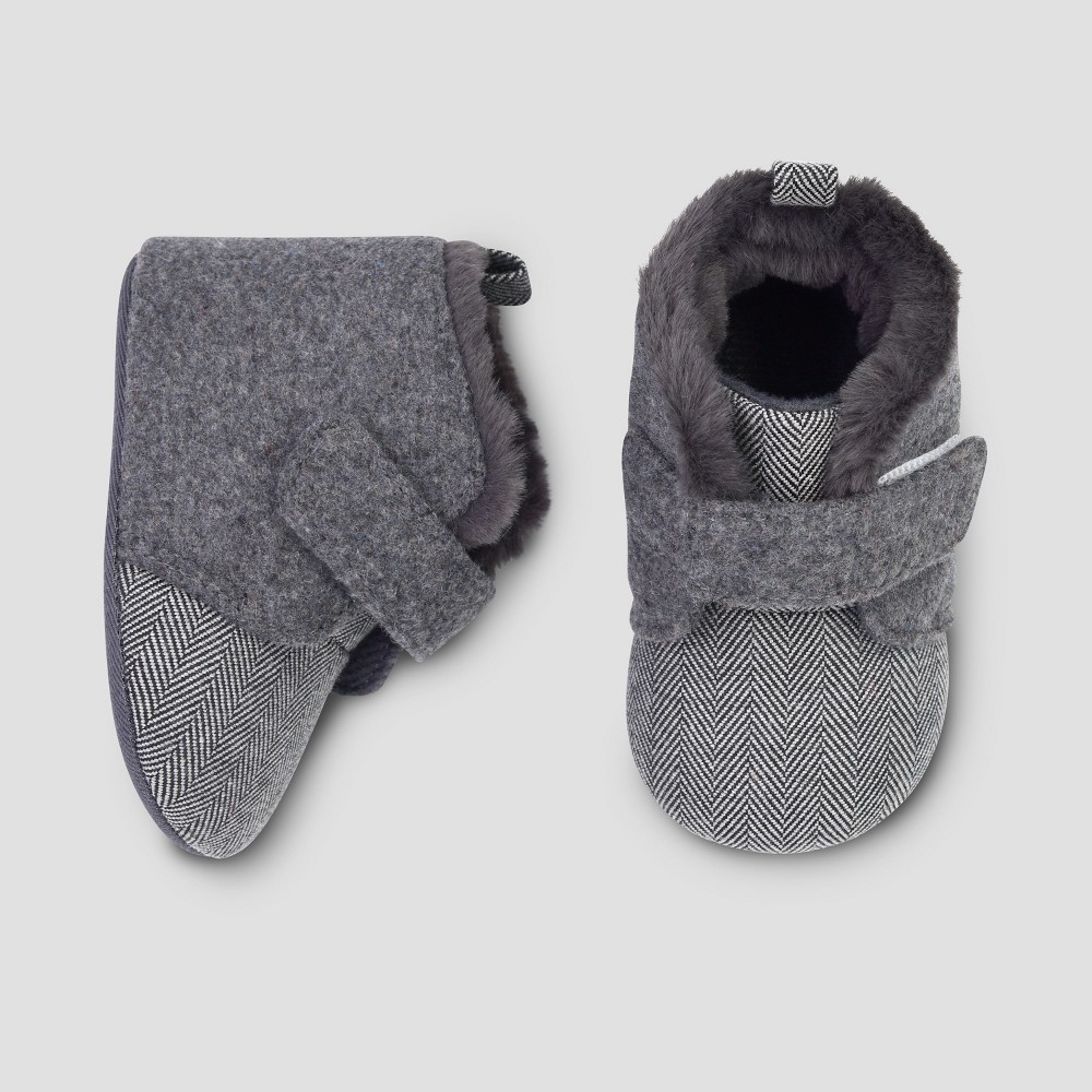 Baby Boys' Faux Wool Booties - Cat & Jack Gray 6-9M