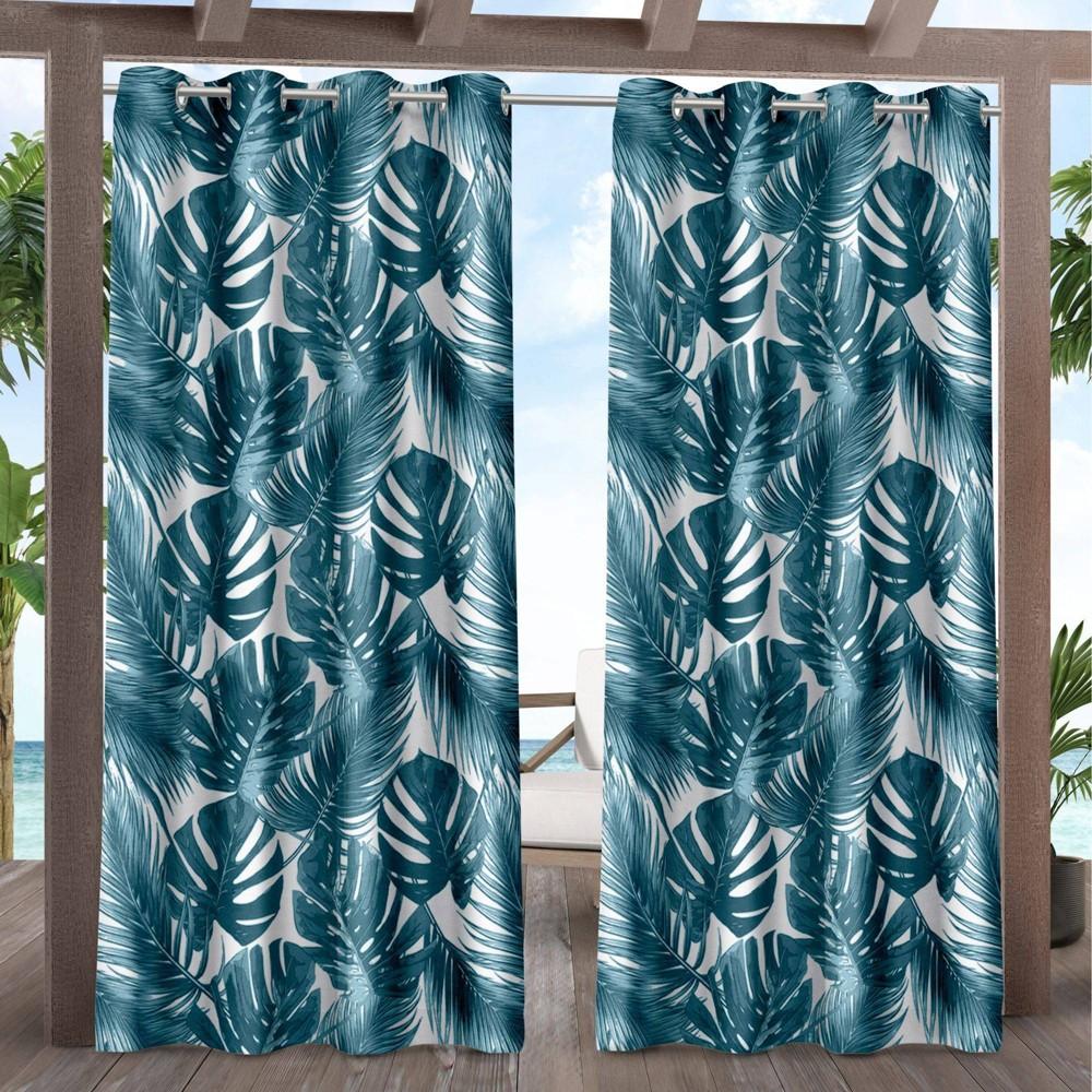 Set Of 2 108 34 X54 34 Jamaica Palm Indoor Outdoor Light Filtering Grommet Top Curtain Panel Blue Exclusive Home
