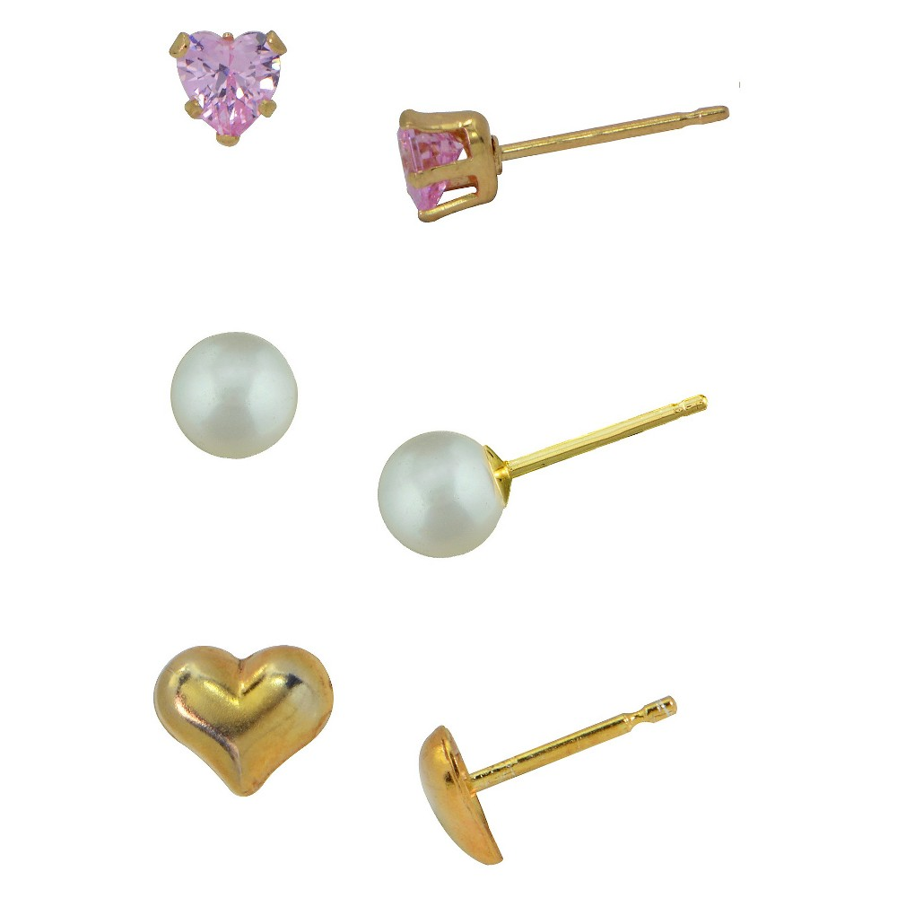 Girls' Gold Over Sterling Silver 3 Pr-Pearl/Pink Cz/Heart Stud Earring Set-4Mm-Pink