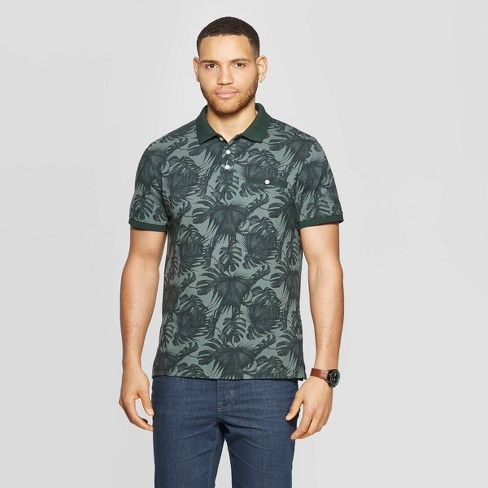 Men's Printed Short Sleeve Retro Polo Shirt - Goodfellow & Co™ Olive - image 1 of 3