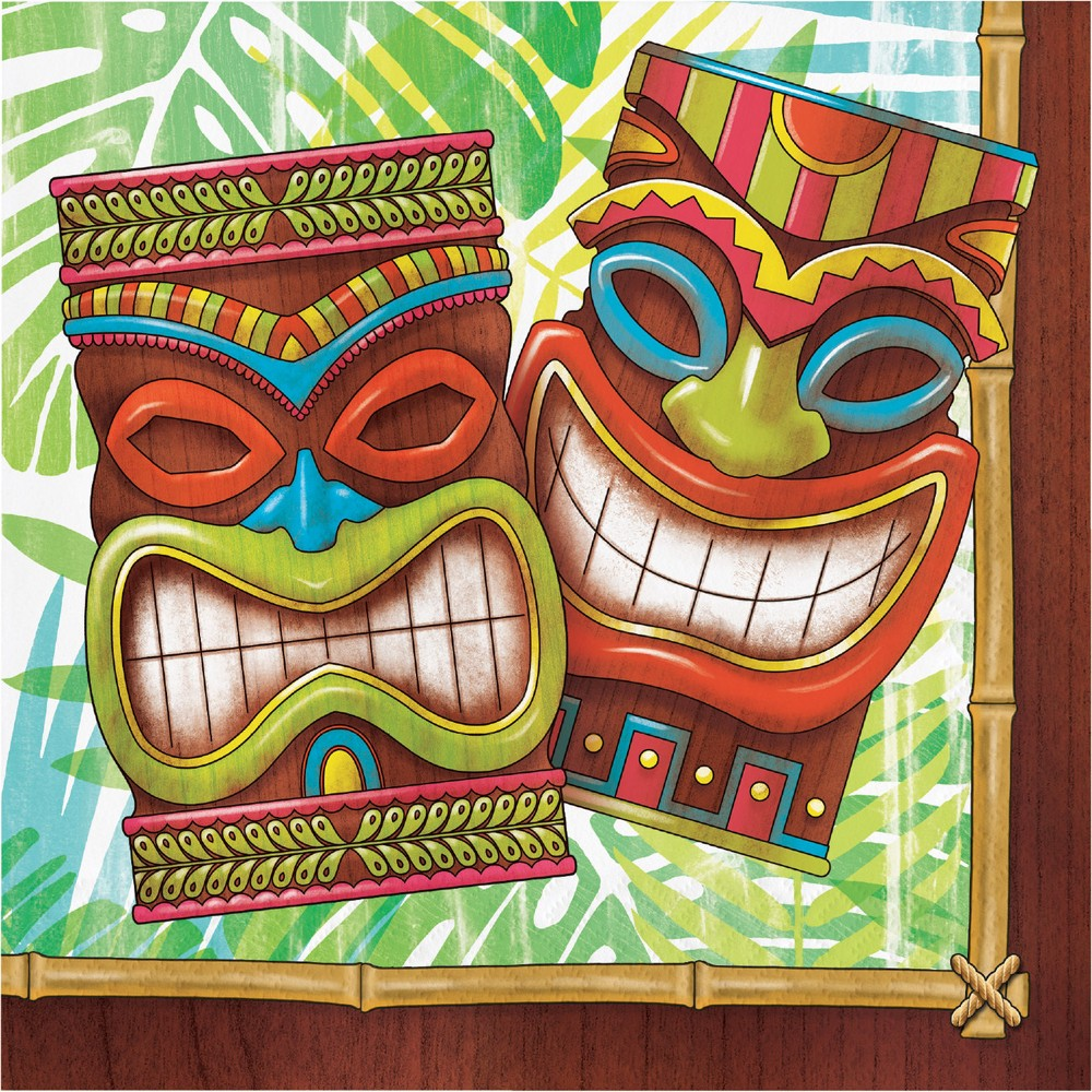 Image of 100ct Tiki Time Napkins, Disposable Napkins