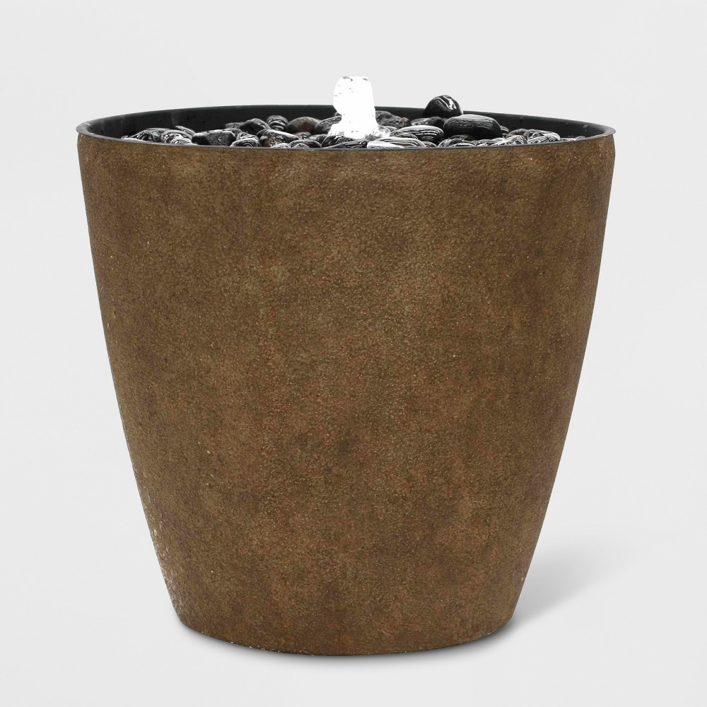 17H Light Up Textured Plastic Resin Outdoor Fountain With Decorative Rocks Brown - Backyard Expressions