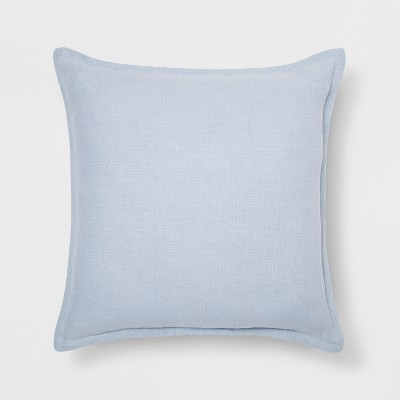 Washed Cotton/Linen Square Throw Pillow Light Blue - Threshold™