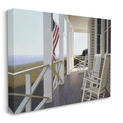 Stupell Industries Americana Rocking Chair Cape Porch Realistic Painting
